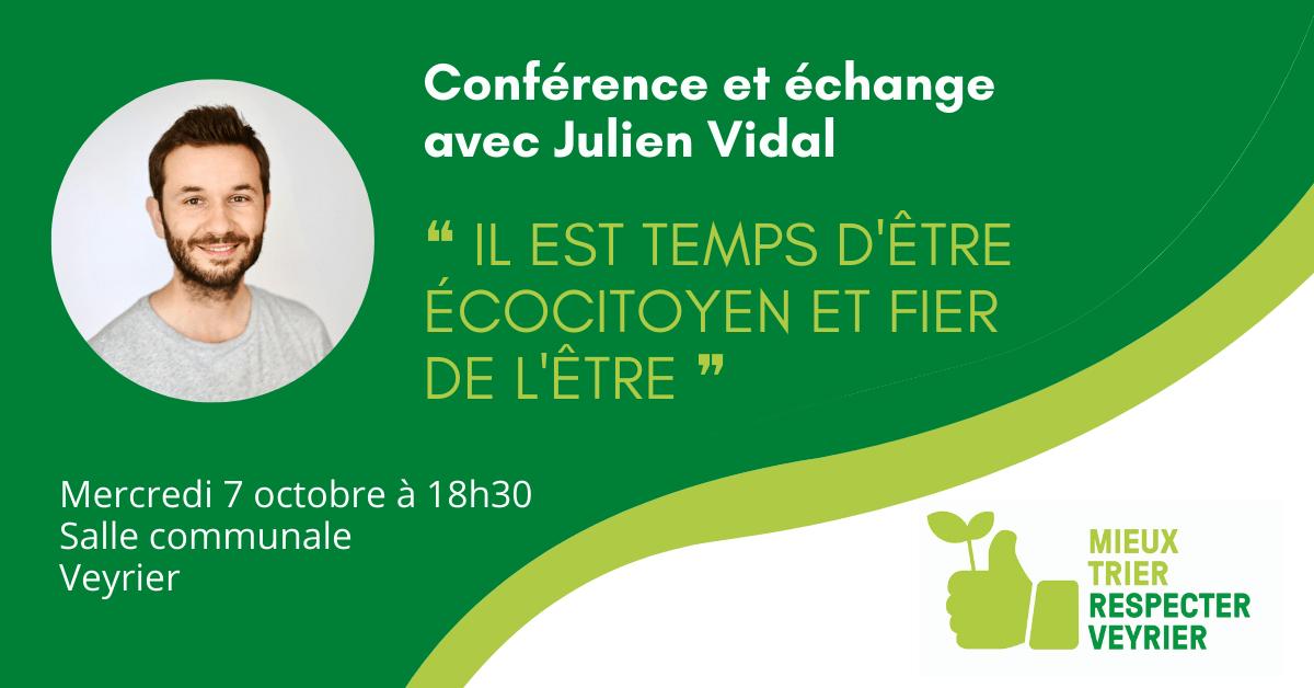 Conférence de Julien Vidal, «Ça commence par moi» – 07.10.2020